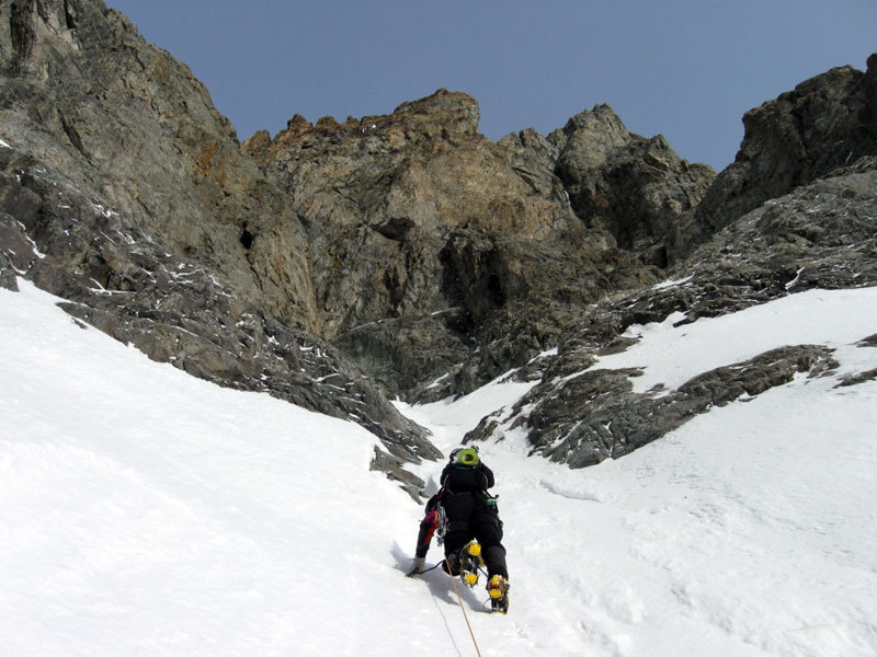Reaching the start of the gully, Sergio De Leo