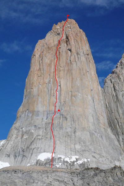 The East Face of the Central Tower of Paine with the route line 'El Gordo, El Flaco y L'Abuelito', Arch. Larcher, Leoni, Orlandi