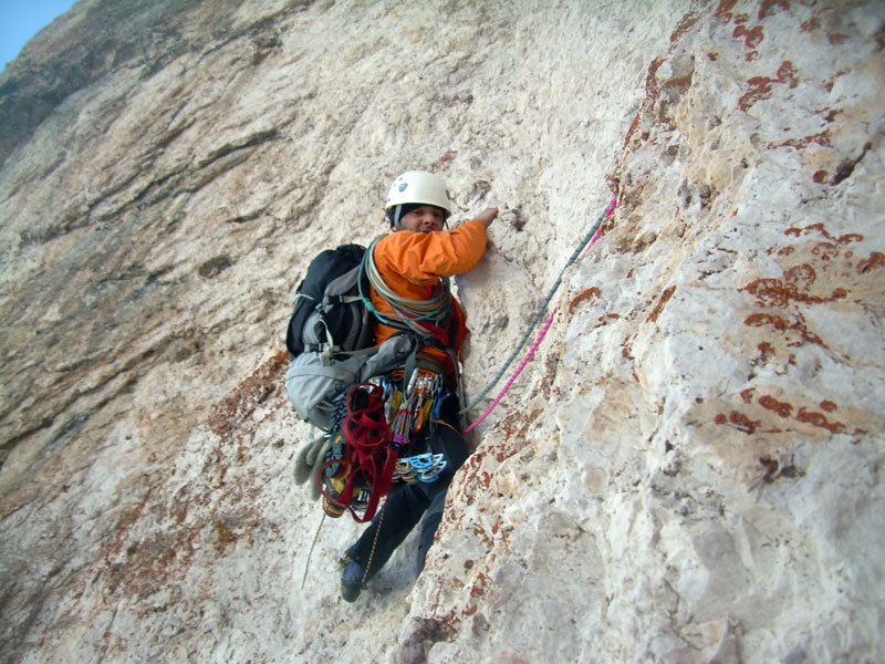 Giorgio Travaglia climbing the large yellow corner on Pilastro Magno, Francesco Milani