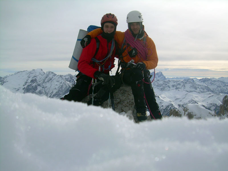 Francesco Milani and Giorgio Travaglia on the summit of Sassolungo after the first winter ascent of Pilastro Magno, archivio F. Milani, G. Travaglia