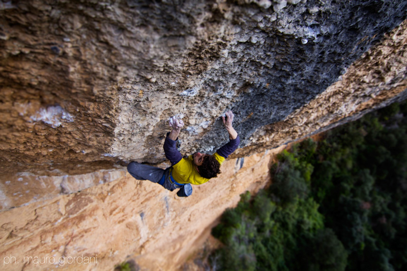 Silvio Reffo redpointing Era Vella 9a at Margalef in Spain, Mauro Giordani