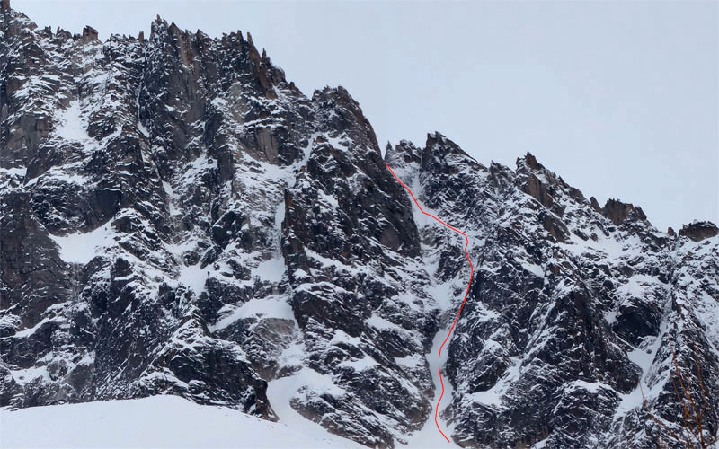 18/01/2013: Davide Capozzi, Julien Herry and Manu Gross in the Couloir a Jess, Flammes de Pierre (Mont Blanc)., Davide Capozzi