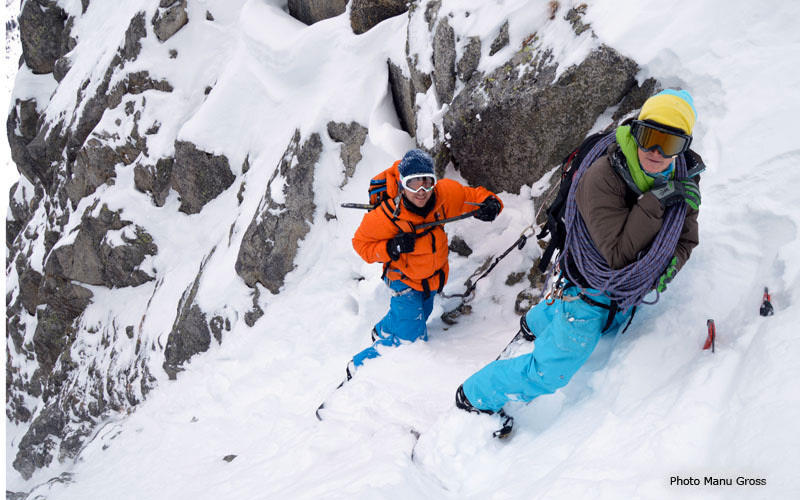 18/01/2013: Davide Capozzi, Julien Herry and Manu Gross in the Couloir a Jess, Flammes de Pierre (Mont Blanc)., Manu Gross