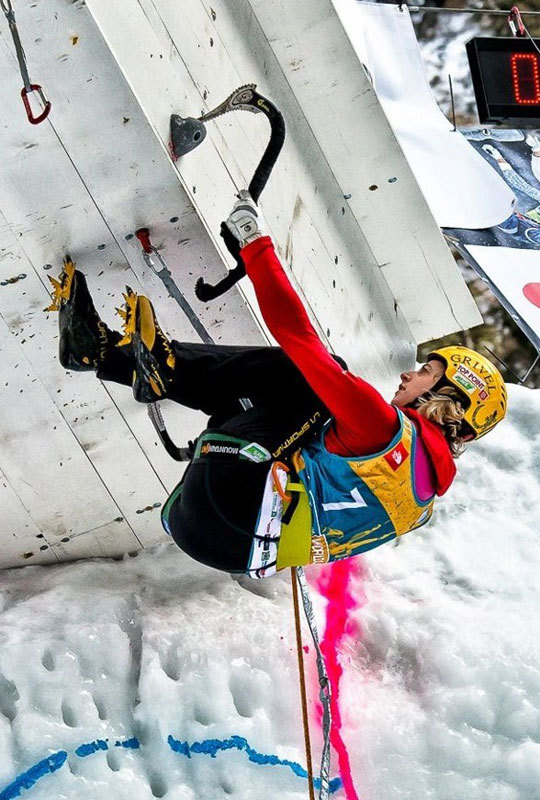 Angelika Rainer winning at Rabenstein which hosted the 3rd stage of the Ice Climbing World Cup 2013, Marco Servalli