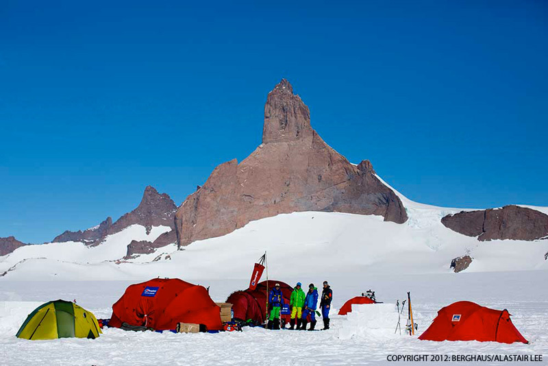 Base Camp, with Ulvetanna (2931m) in the background and 5 km away., Berghaus / Alastair Lee