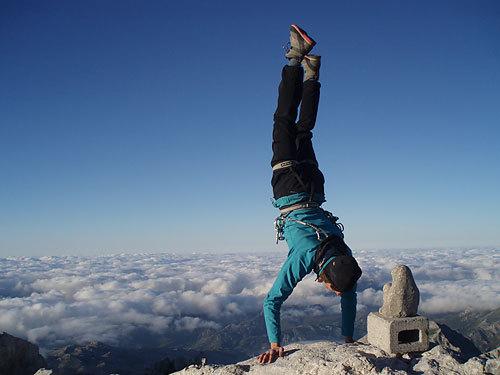 Naranjo de Bulnes summit handstand., archive Leo Houlding