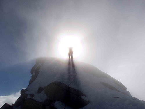 Leo on the summit of Fitz Roy, Patagonia., archive Leo Houlding