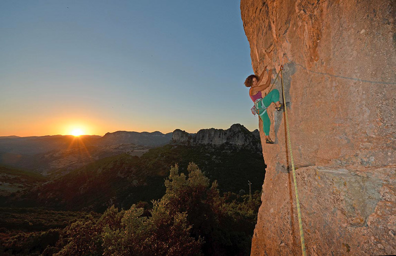 Cecilia Marchi climbing one of the new routes at the Castello (Jerzu), Maurizio Oviglia