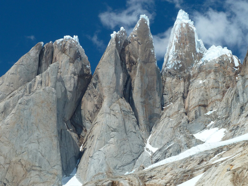 From left to right: the west faces of Cerro Standhardt, Punta Herron, Torre Egger and Cerro Torro, Matteo Bernasconi