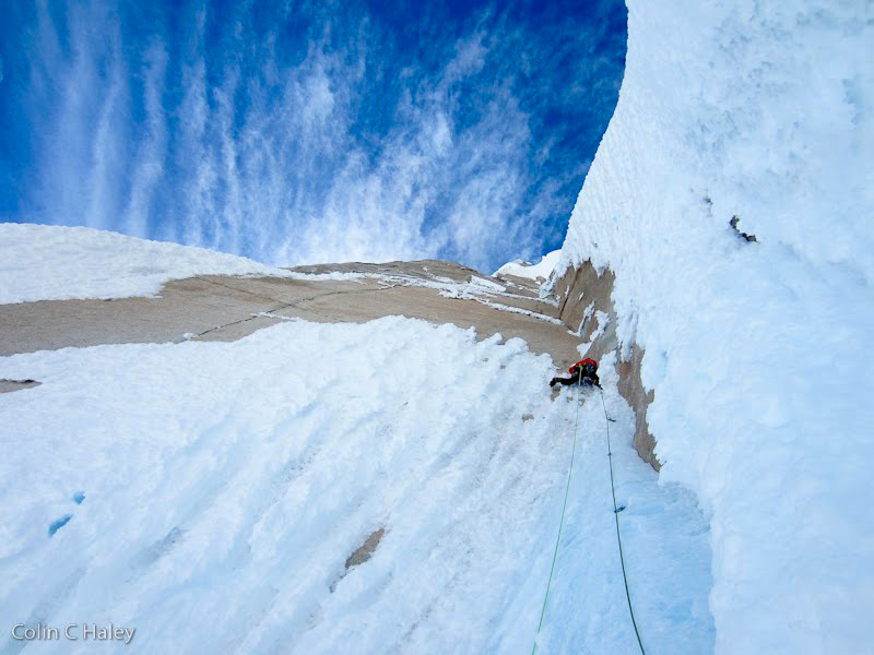 01/2013: Jon Walsh during an attempt on Venas Azules, Cerro Torre, Colin Haley