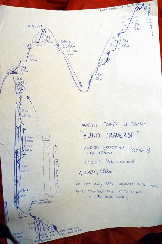 Zuko traverse (V 5.10+, 650m) Torre Norte, Torri del Paine, Patagonia aperta il 01/01/2013 da Andrej Grmovšek e Luka Krajnc , Andrej Grmovšek