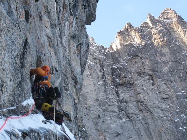 01/2013: Andy Kirkpatrick, Tormod Granheim and Aleksander Gamme during their winter ascent of Suser Gjennom Harryland on Trollveggen (Troll Wall) in Norway., Andy Kirkpatrick archive