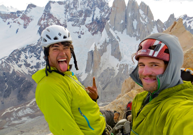 Beau Carrillo and Tad Mccrea on the summit of Aguja Poincenot in Patagonia after having climbed the Whillans - Cochrane route,