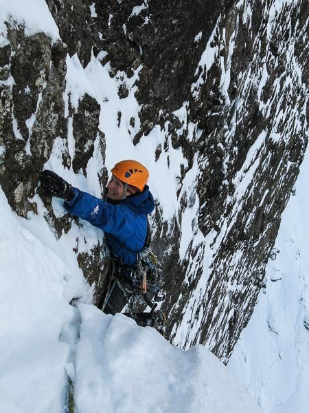 Iain Small making the first winter ascent of Jib (VIII,8) on Blaven., Simon Richardson