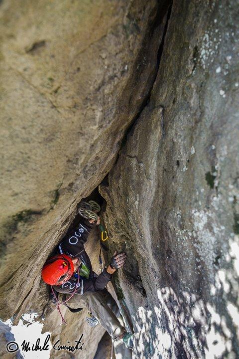 Federico Schlatter climbing Il nido del cinghiale 6b (E3 6a) at Amiata, Michele Caminati