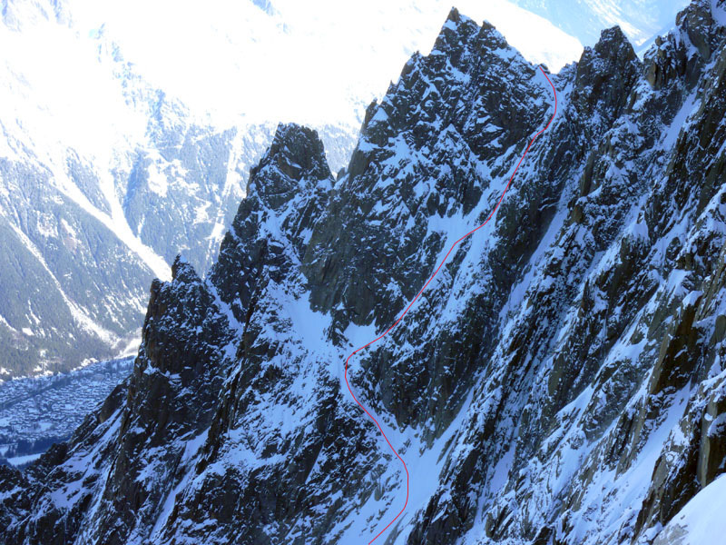 On 14/02/13 Julien Herry, Luca Rolli and Davide Capozzi ascended and skied the Voie Normale dell'Aiguille des Pelerins, Mont Blanc massif, Davide Capozzi