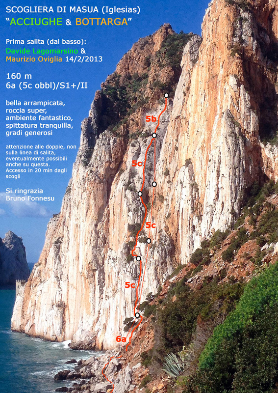 Acciughe & Bottarga (6a, 160m, Davide Lagomarsino,  Maurizio Oviglia) scogliera di Masua, Sardinia., Maurizio Oviglia
