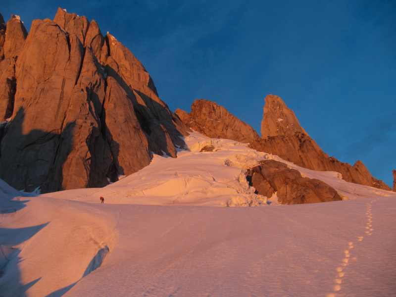 Markus Pucher during his free solo of the Ragni Route on Cerro Torre in Patagonia on 14/01/2013, Markus Pucher