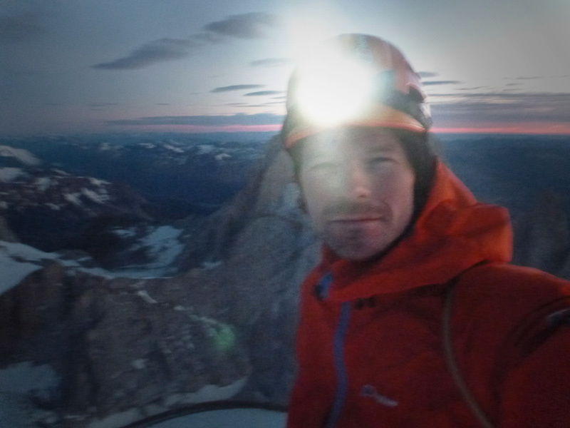 Markus Pucher durante la free solo della Via dei Ragni sul Cerro Torre in Patagonia il 14/01/2013, Markus Pucher