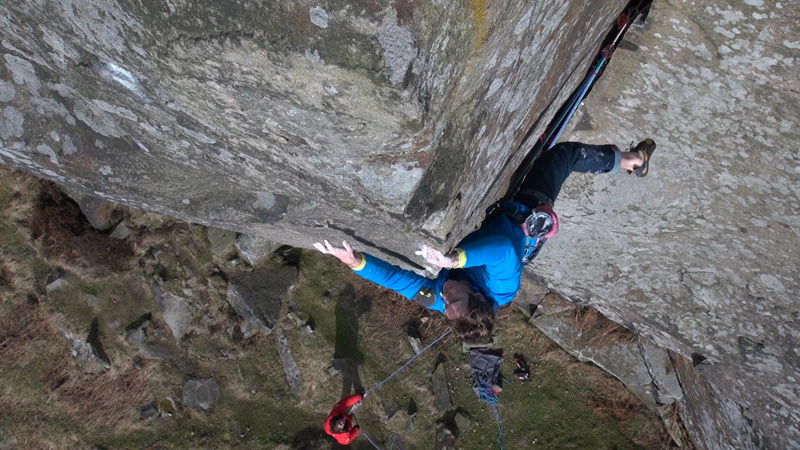 James Pearson making the third ascent of Elder Statesman HXS 7a at Curbar Edge, England on 15/02/2013., Wild Country / Hot Aches Productions