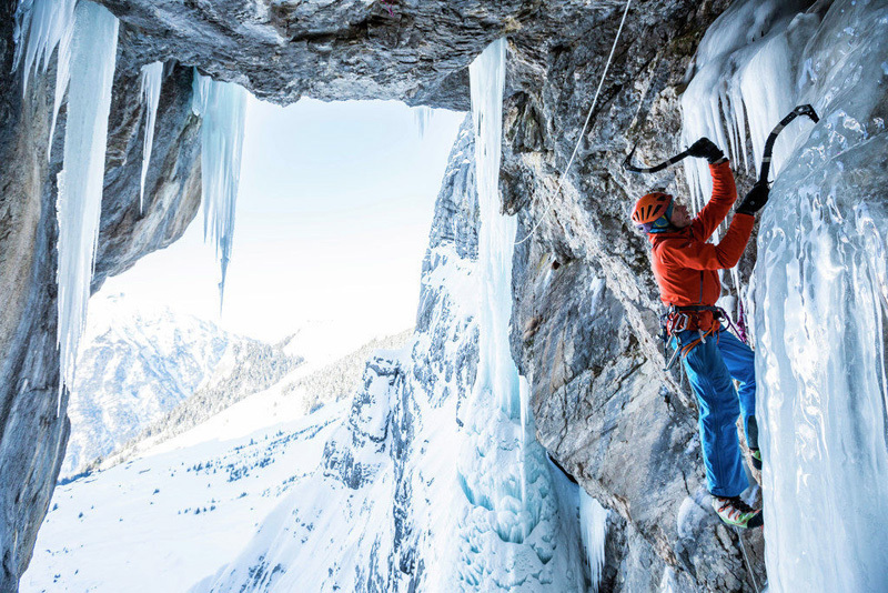 Robert Jasper during the first ascent of Kokosnuß (M12, WI5, 165m, 13/02/2013), Breitwangflue, Kandersteg, Switzerland., visualimpact.ch | Hans Hornberger