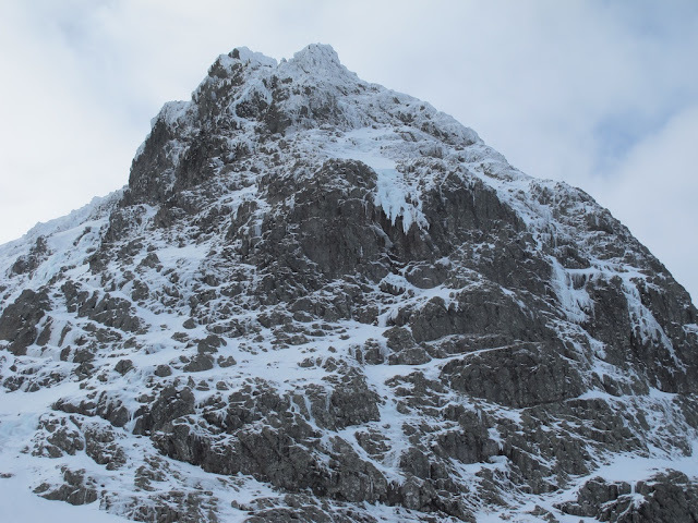 The Breneva Face on Ben Nevis and the obvious central line of The Snotter, Dave MacLeod