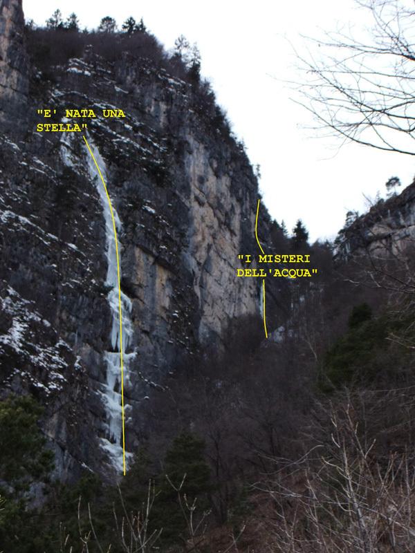 I misteri dell'acqua, Cima Corda - Val di Ledro (100m, WI4+ M4, Giorgio Tameni, Luca Tamburini 07/02/2013) , Giorgio Tameni