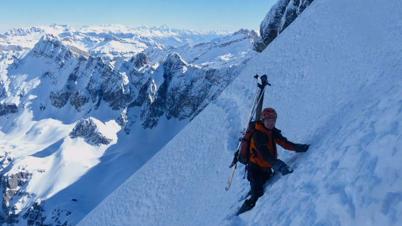 On 2 March Sébastien de Sainte Marie, Olov Isaksson and Gilles Bornet skied the West Face of Grand Muveran (1600m, 5.2/5.3 E4) in Switzerland's Bernese Alps. , Sébastien de Sainte Marie