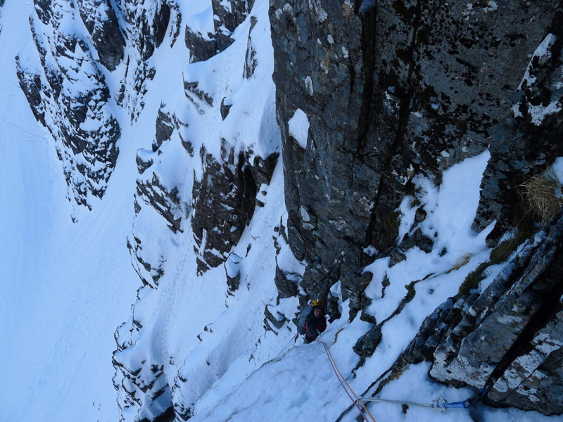 Stob Coire nan Lochan, Glen Coe. Marcello su Moonshadow, sul South Buttress, Filippone - Rossi - Sanguineti - Türk