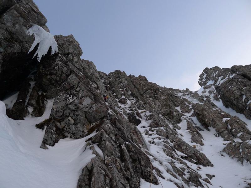 Stob Coire nan Lochan, Glen Coe. Marcello su Innuendo, sul Summit Buttress, Filippone - Rossi - Sanguineti - Türk