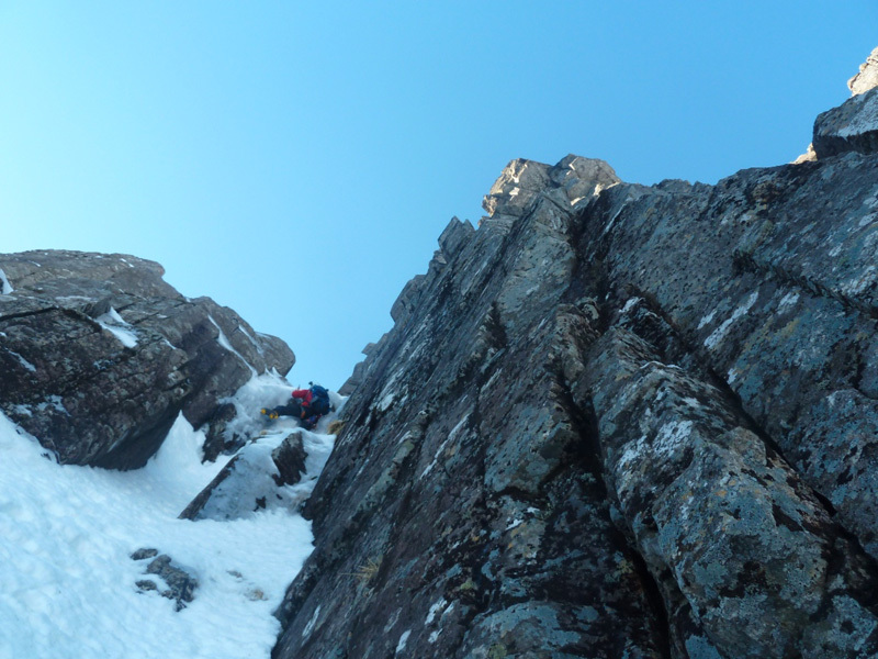 Stob Coire nan Lochan, Glen Coe. Su Twisting Gully Right Fork, Filippone - Rossi - Sanguineti - Türk