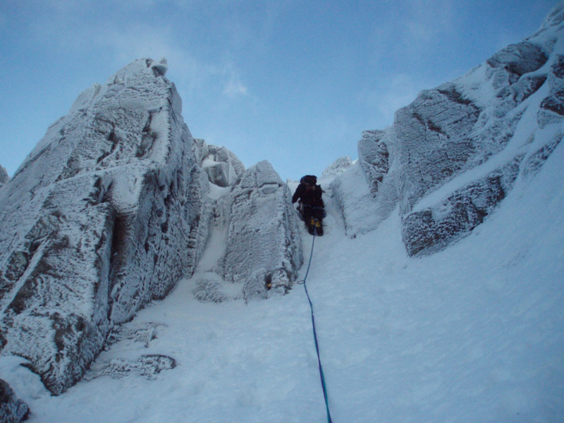 Stob Coire nan Lochan, Glen Coe. Francesco su Twisting Gully Right Fork, Filippone - Rossi - Sanguineti - Türk