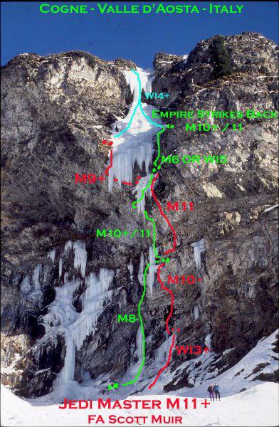 Jedi Master M11 (Valleile, Cogne), topo Scott Muir, arch. Scott Muir