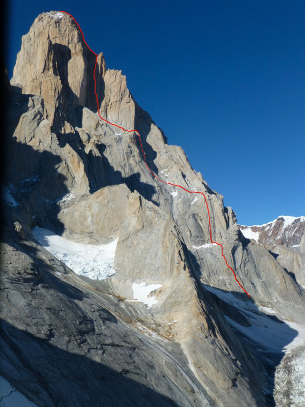 The line climbed by Stephane Hanssens and Sean Villanueva O'Driscoll up the North West Face of Fitz Roy.