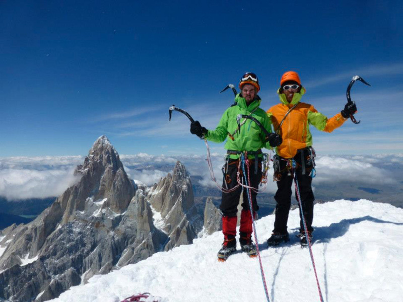 Stephane Hanssens and Sean Villanueva O'Driscoll on the summit of Cerro Torre., Villanueva archive