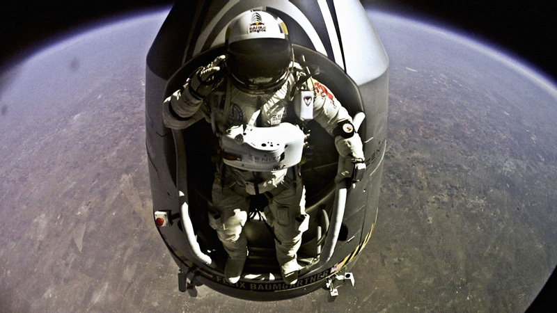 Pilot Felix Baumgartner of Austria jumps out from the capsule during the final manned flight for Red Bull Stratos in Roswell, New Mexico, USA on October 14, 2012., Red Bull Stratos / Red Bull Content Pool