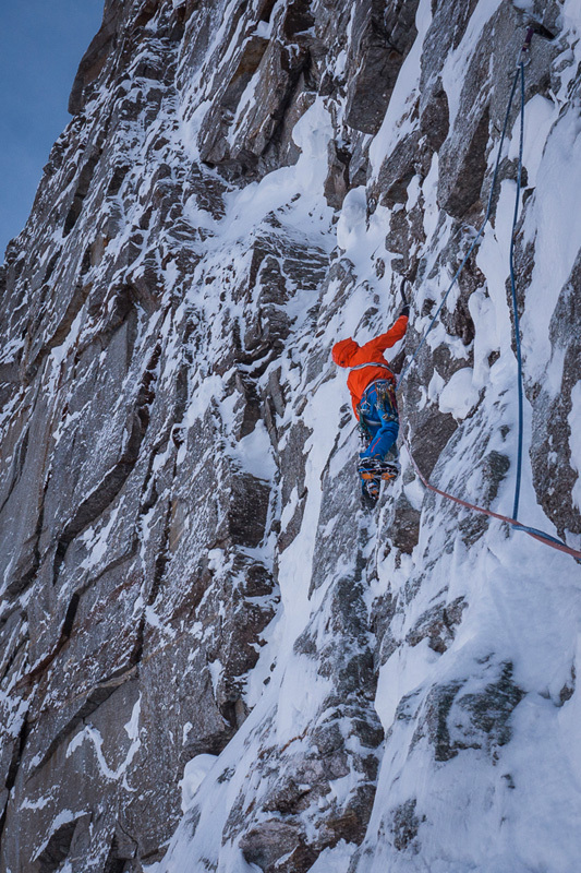 David Lama during the first attempt of the first winter ascent of Schiefer Riss, Sagwand on 11/03/2013., Hansjörg Auer