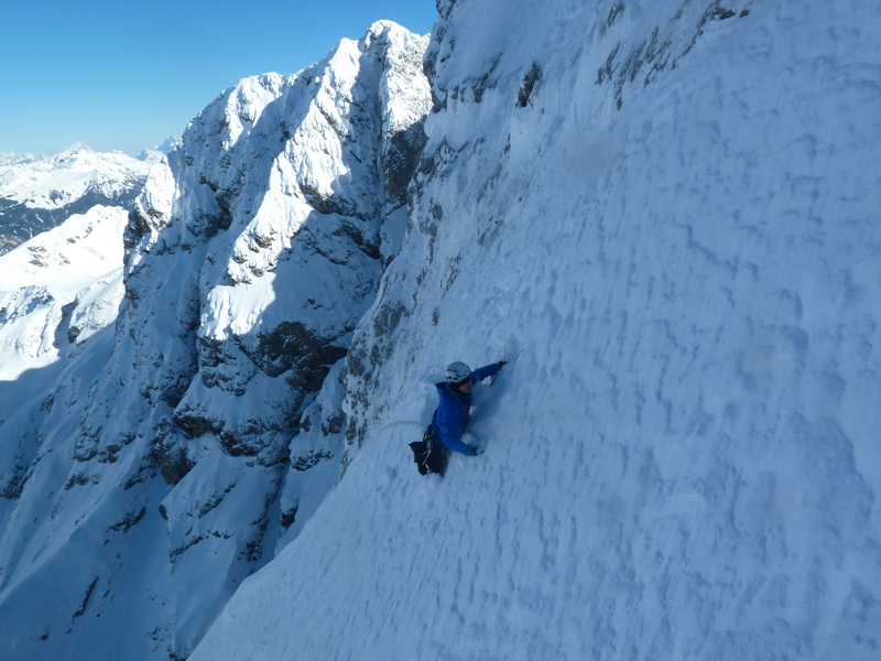 Klaus Baumgartner at the top of pitch 9, Molignon di Dentro, Rosengarten, Dolomites, archivio Angelo & Tonelli