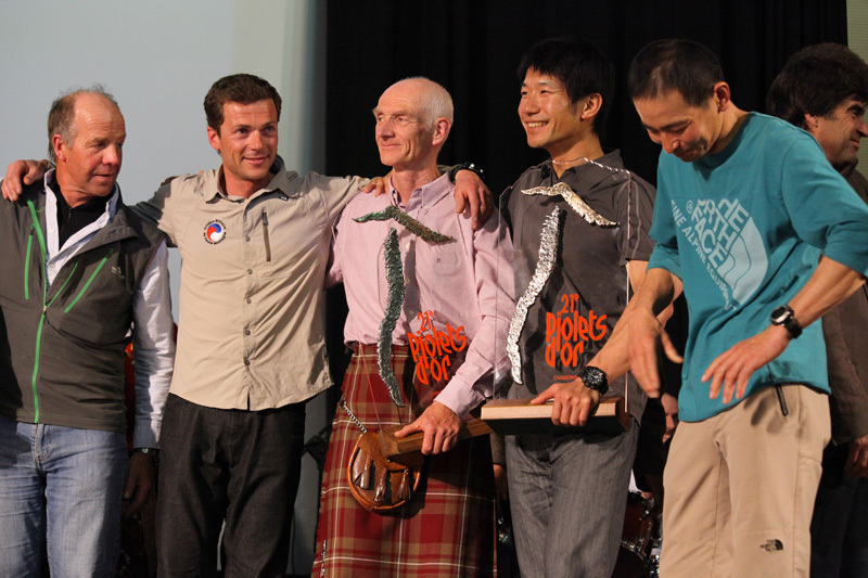Some of the teams:: from left to right: Sandy Allan (Nanga Parbat); Sebastien Bohin (Kamet); Rick Allen (Nanga Parbat); Yasuhiro Hanatani (Kyashar) and Tatsuya Aoki (Kyashar). , Lanzeni / Piolets d'Or