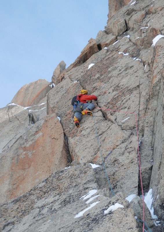 Dave Almond on pitch 3, Aiguille Du Midi North Face, Mont Blanc, Mark Thomas