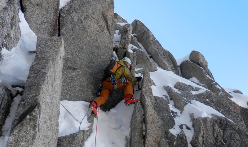 Mark Thomas on pitch 2, Aiguille Du Midi North Face, Mont Blanc, Dave Almond