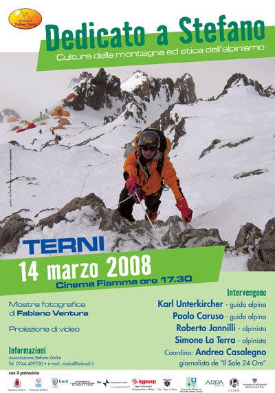 """Venerdì 14 marzo alle 17,30 si terrà presso il Cinema Fiamma di Terni una serata sul tema """"Cultura di montagna ed etica dell'alpinismo""""., Ass. Stefano Zavka"""