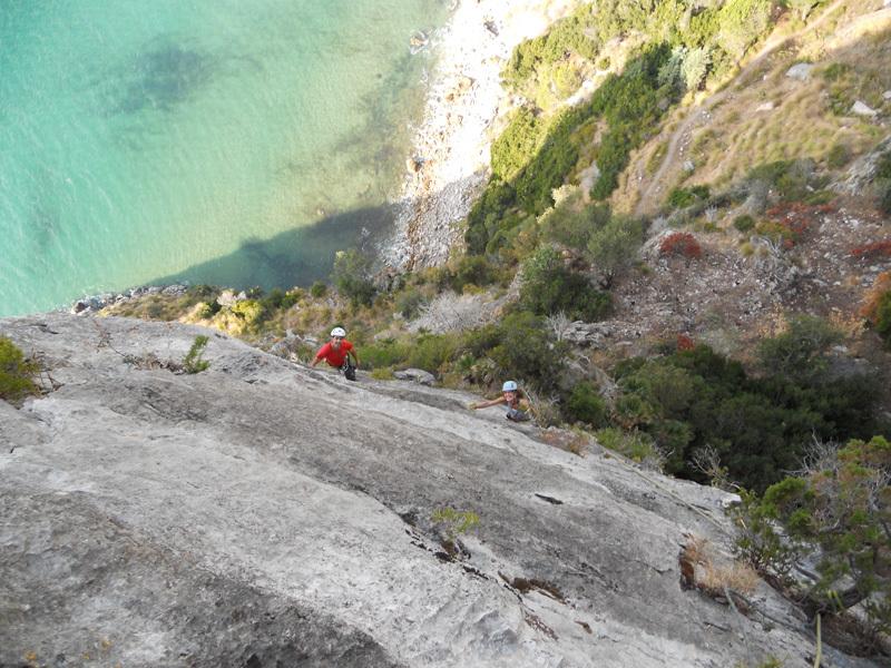 Alberto Graie and Loretta Spaccatrossi climbing Ouverture San Fin., archivio Ivo Ferrari