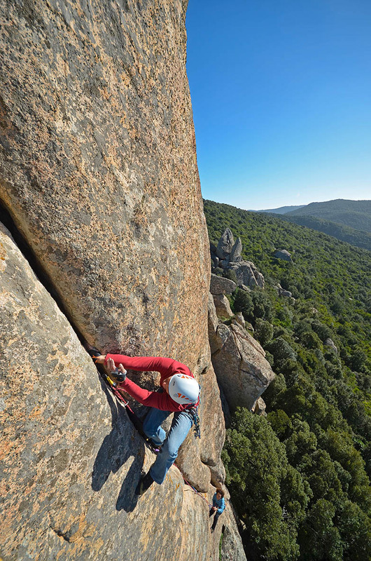Maurizio Oviglia climbing pitch 2 of Top Secret. , Sara Oviglia