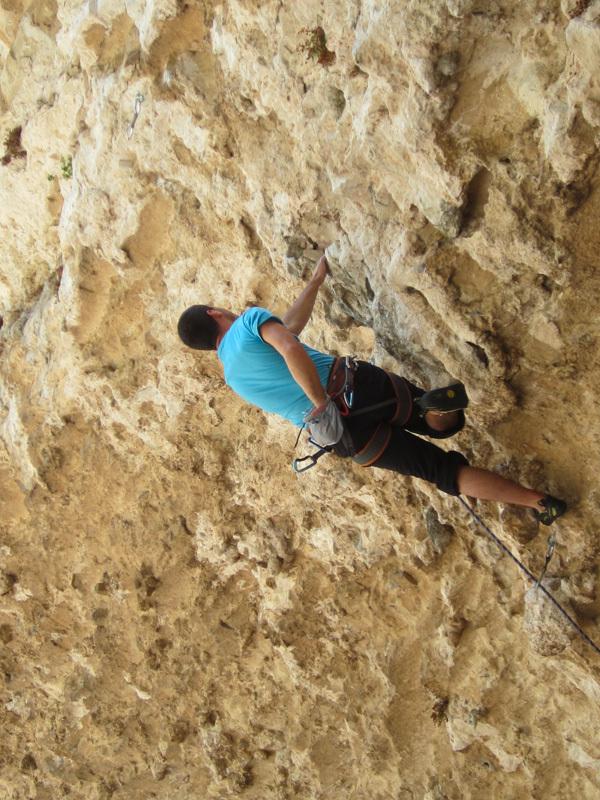 Davide Gallo climbing Lupo di mare 7a+, Max Flaccavento