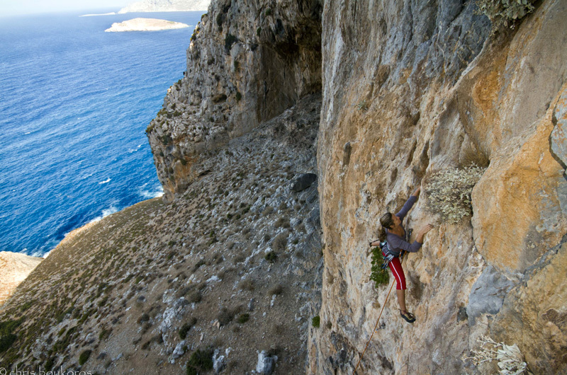 Beatrice Pellisier climbing at Saint Photis, Chris Boukoros