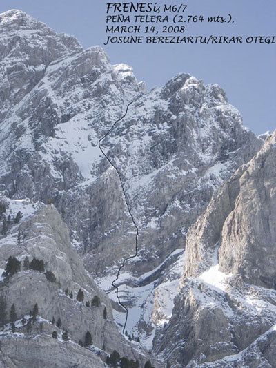 Frenesi (M7, 450m), north face of Peña Telera (2764 m), Spain, first ascended by Josune Bereziartu and Rikar Otegui on 14/03/2008., Bereziartu collection