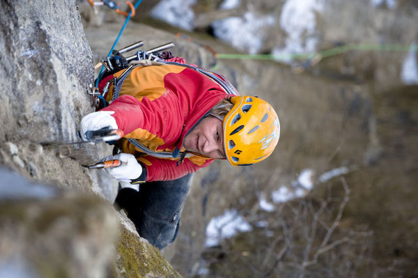 Albert Leichtfried climbing Little Princess M8+, A1, WI5+, Hermann Erber