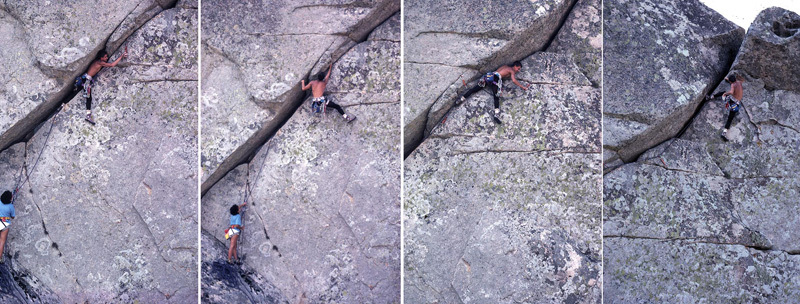 September 1985 - Roberto Mochino onsighting the crux pitch of the route, an overhaning offwidth grade 6b at the time but which now would more realistically be graded 6c. At the time we only owned 3 Friends: #2, #3 and #4!, Maurizio Oviglia