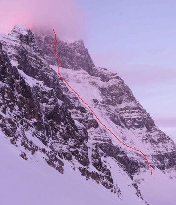 The north face of Mt. Alberta, Rockies, Canada  (3619m), with the line of the new House -Anderson WI5+ M8 R/X, 1000m)., Vince Anderson